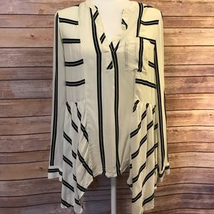 """Maeve"" striped long sleeve blouse"